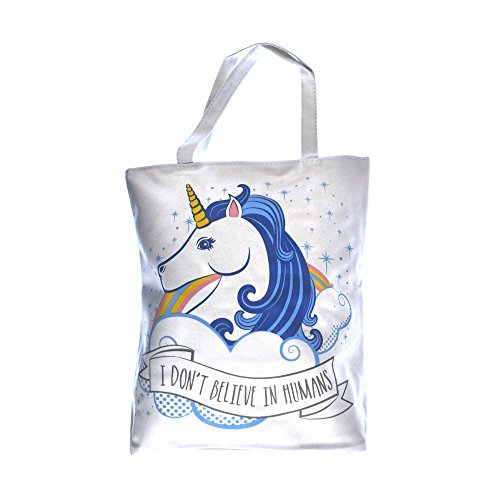 """I don't believe in humans"" unicorn shopping bag"