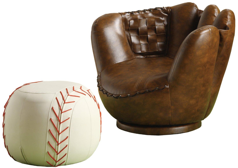 baseball desk chair high stand mitt and ottoman