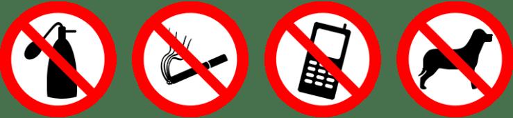 Förbudsikoner: överstruken parfymflaska, cigarett, mobil och hund