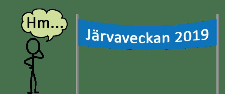 """Eftertänksam person står och funderar framför en banderoll med texten """"Järvaveckan 2019"""""""