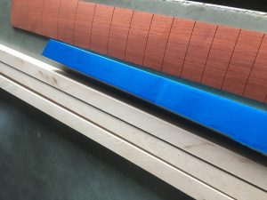 planning the build, maple, padauk and a pearlescent blue finish