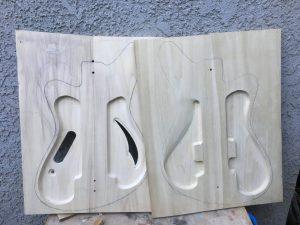 two halves of a Sirena Modelo Uno bass body