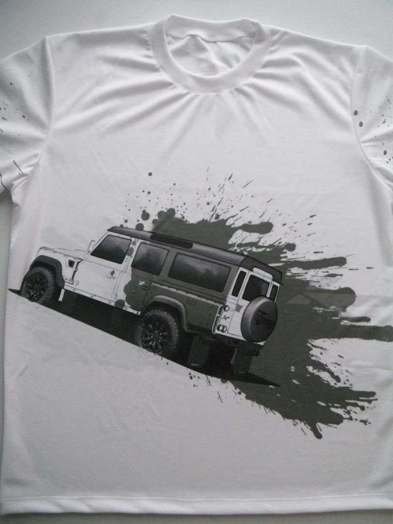 Tshirt with Land Rover Defender logo and allover printed picture  Tshirts with all kind of