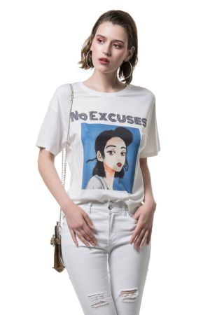 Cento Fashion T-shirt τύπωμα No Excuses