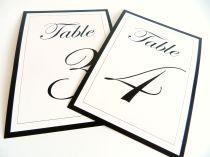 Flat table numbers Edwardian script