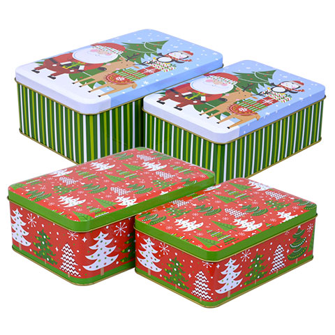 Holiday Gift Tins - Santa and Christmas Trees