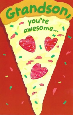 Valentines Day Card for Grandson - Pizza You're Awesome Glitter Card