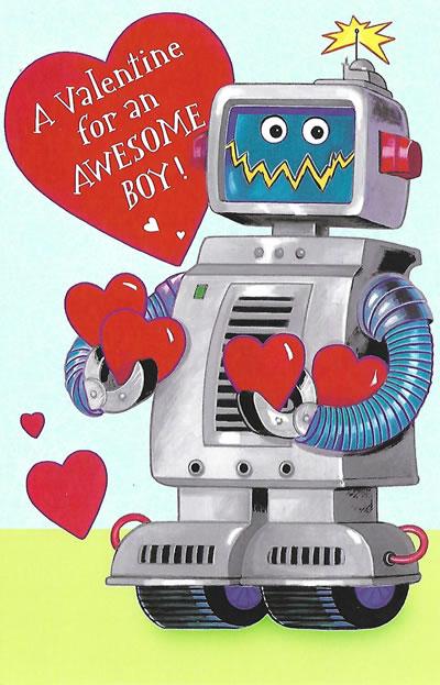 Fun Robot Valentine's Day Card for a Boy - Custom