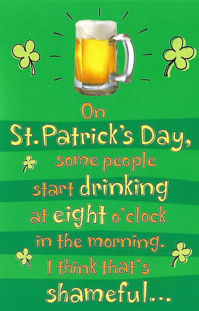 St. Paddy Day Funny Drinking Card - Add Green Glitter
