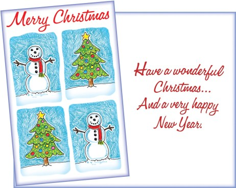 Merry Christmas Snowman and Christmas Tree New Year Card