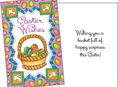 Easter Wishes Basket of Eggs Easter Card