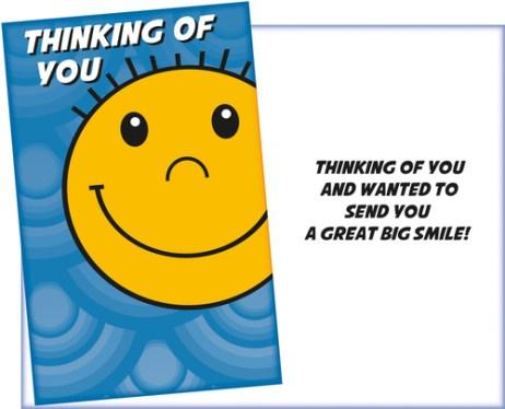 Thinking of You - Big Smile Card - Fun Emoji Style Card