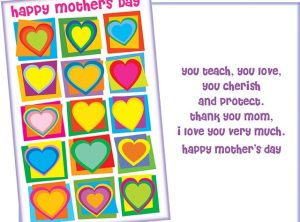 Mother's Day Card - Teach, Cherish, Love, Protect