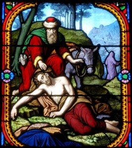 Stained glass window depicting the Parable of the Good Samaritan, Church of Saint-Eutrope in Clermont-Ferrand, stained glasses (Puy-de-Dôme, France), image from Wikimedia Commons