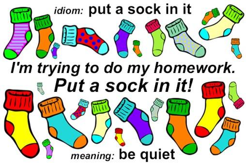 Idiom - Put a sock in it