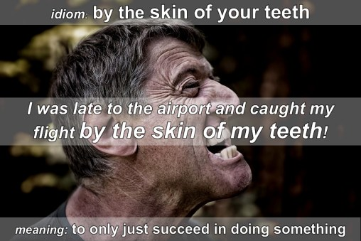 skin of teeth - idiom