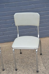 Retro Vintage 2 x Kitchen Chairs mid century grey chrome
