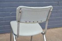 Retro Vintage 2 x Kitchen Chairs mid century grey chrome