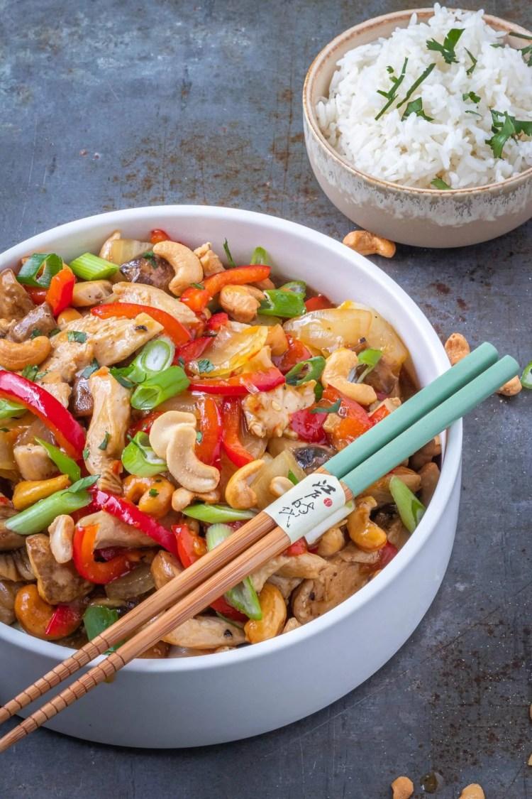 Recept voor kip cashew met rijst