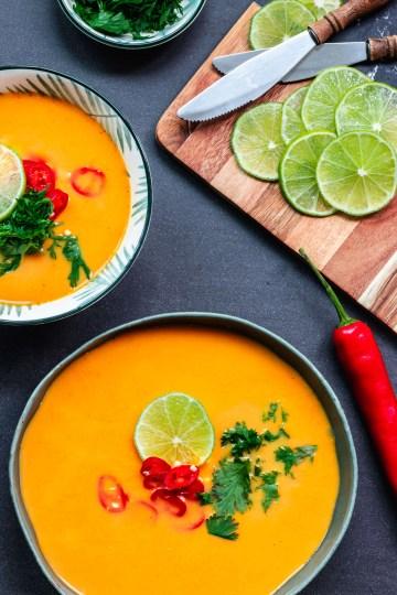 Wortelsoep met rode curry