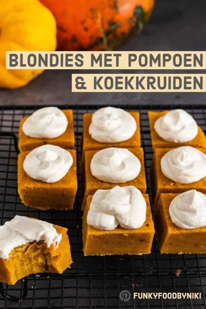 Recept Blondies met pompoen & koekkruiden
