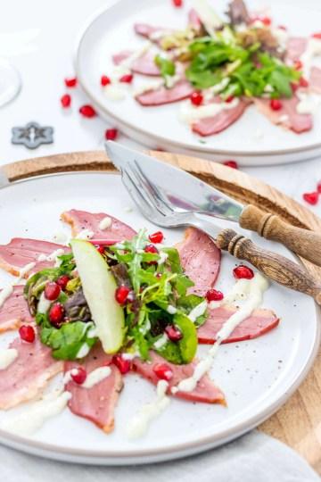 Recept voorgerecht Gerookte eendenborst met appelmayonaise