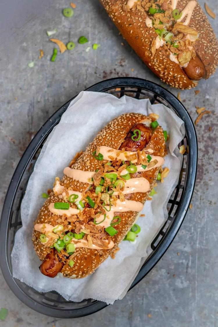 Recept voor broodje hotdog van de bbq