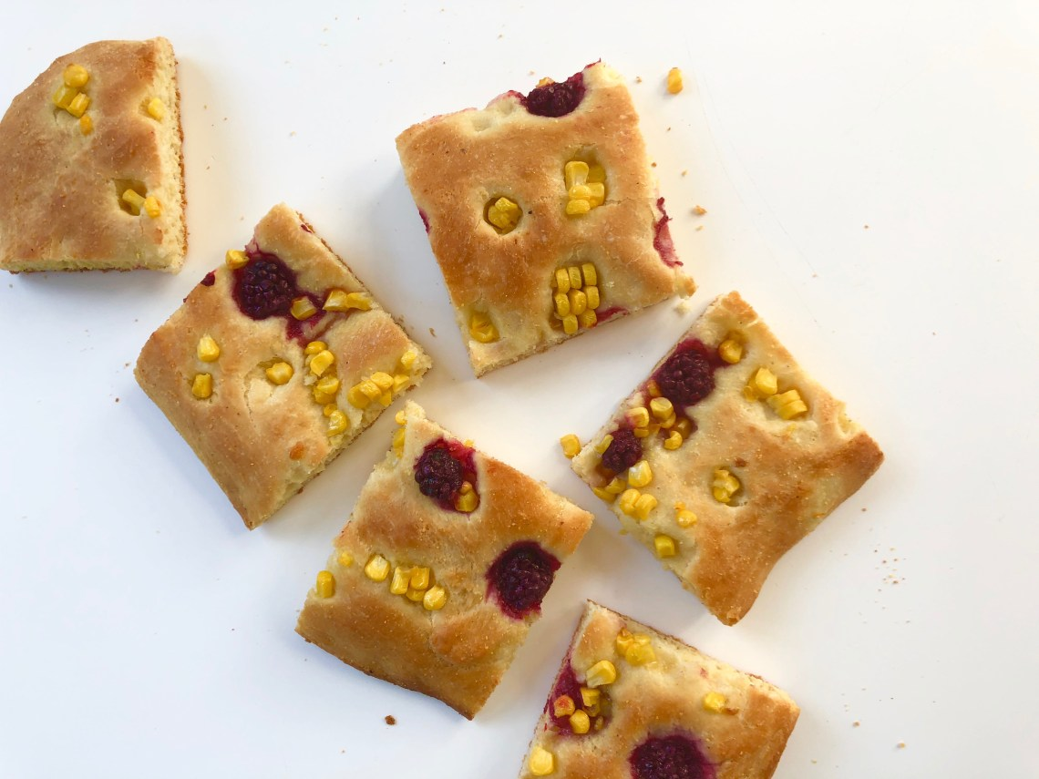 Corn Focaccia with Pickled Blackberries 3