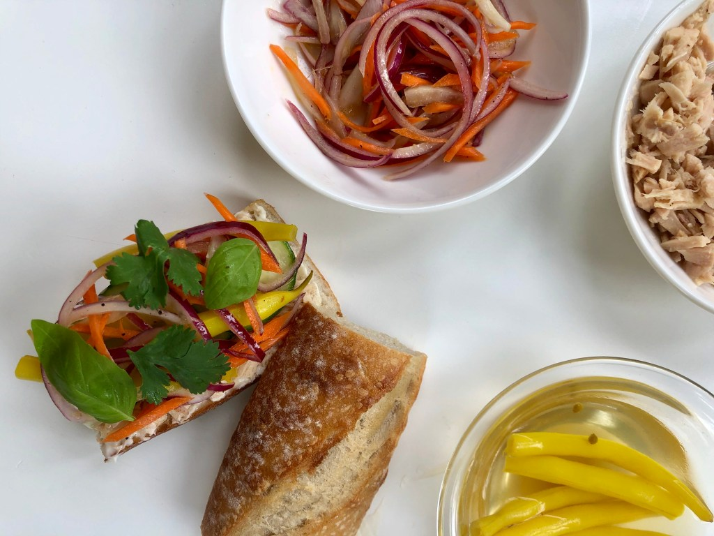 Tuna Banh Mi Sandwich with Pickled Yellow Beans and Marinated Carrots and Onions