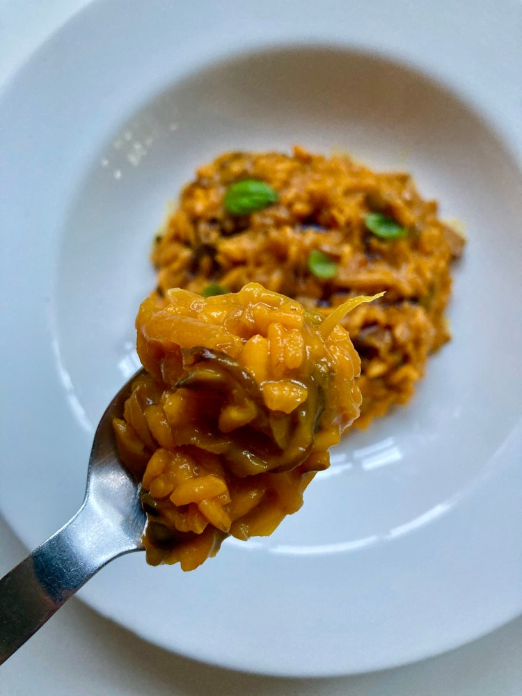 Spoonful of yellow beet risotto