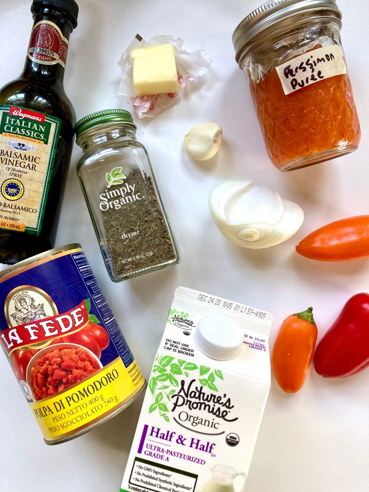 ingredients for persimmon marinara sauce