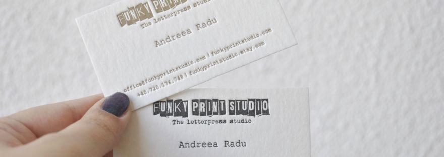 gold letterpress business cards