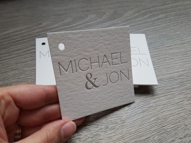 letterpress square tags