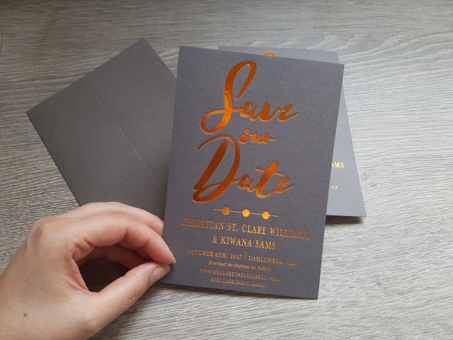 copper hot foil save the dates
