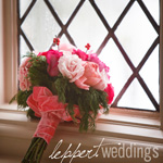 Bridal bouquet leaning against a window