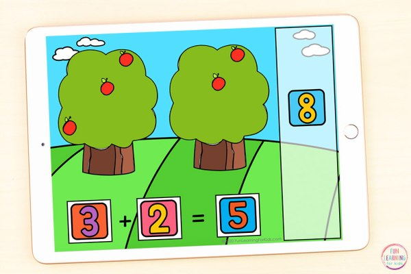 Addition to 10 math activity for fall.