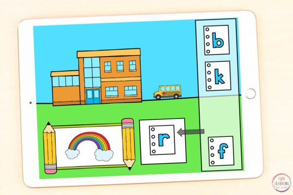 Google Slides and Seesaw beginning sounds activity for pre-k, kindergarten, and first grade.