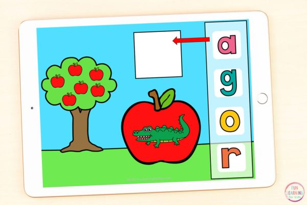 Free apple alphabet activity that students can use on Seesaw or Google Slides.