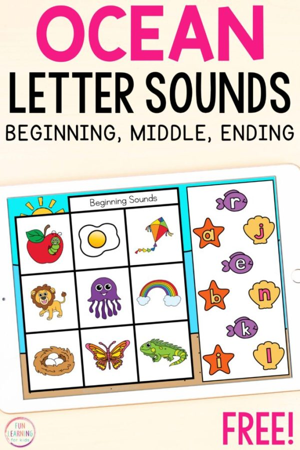 A free ocean themed letter sound isolation activity for Google Slide and Seesaw.