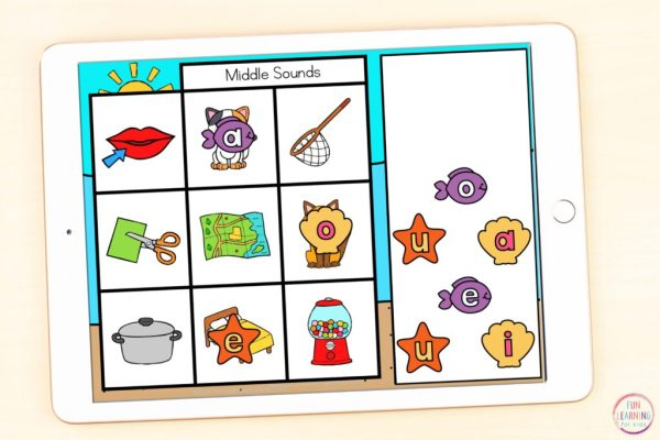 Free ocean theme letter sounds isolation phonics activity.