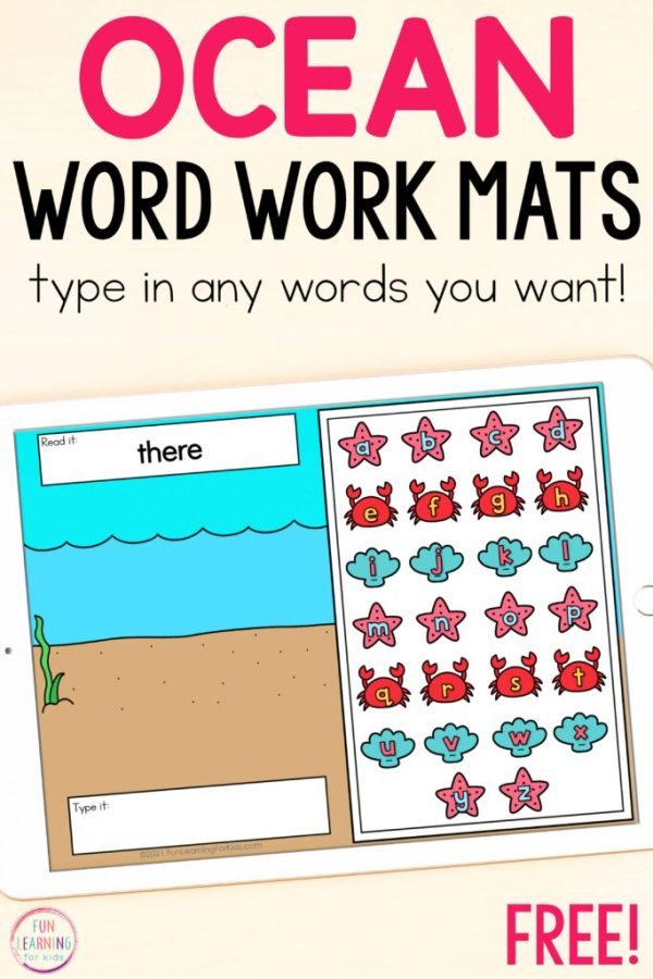 Free digital ocean theme word work activity for Google Slides and Seesaw.