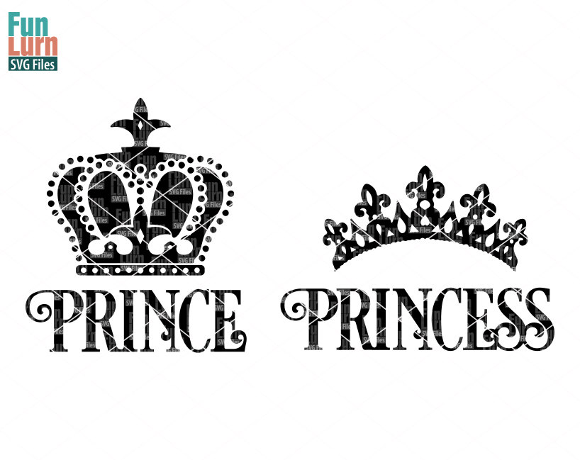 prince princess crown svg
