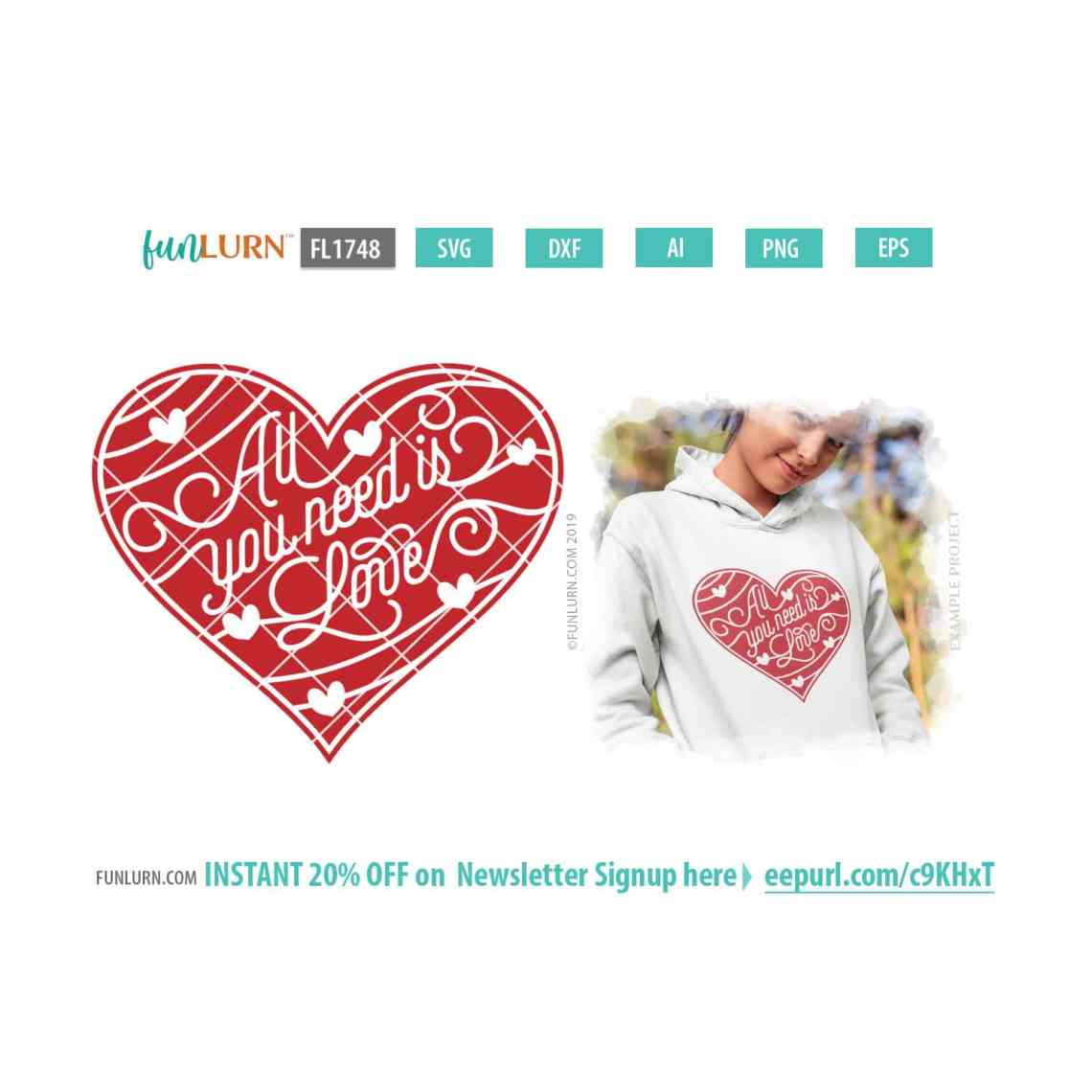 Download All you need is love SVG - FunLurn