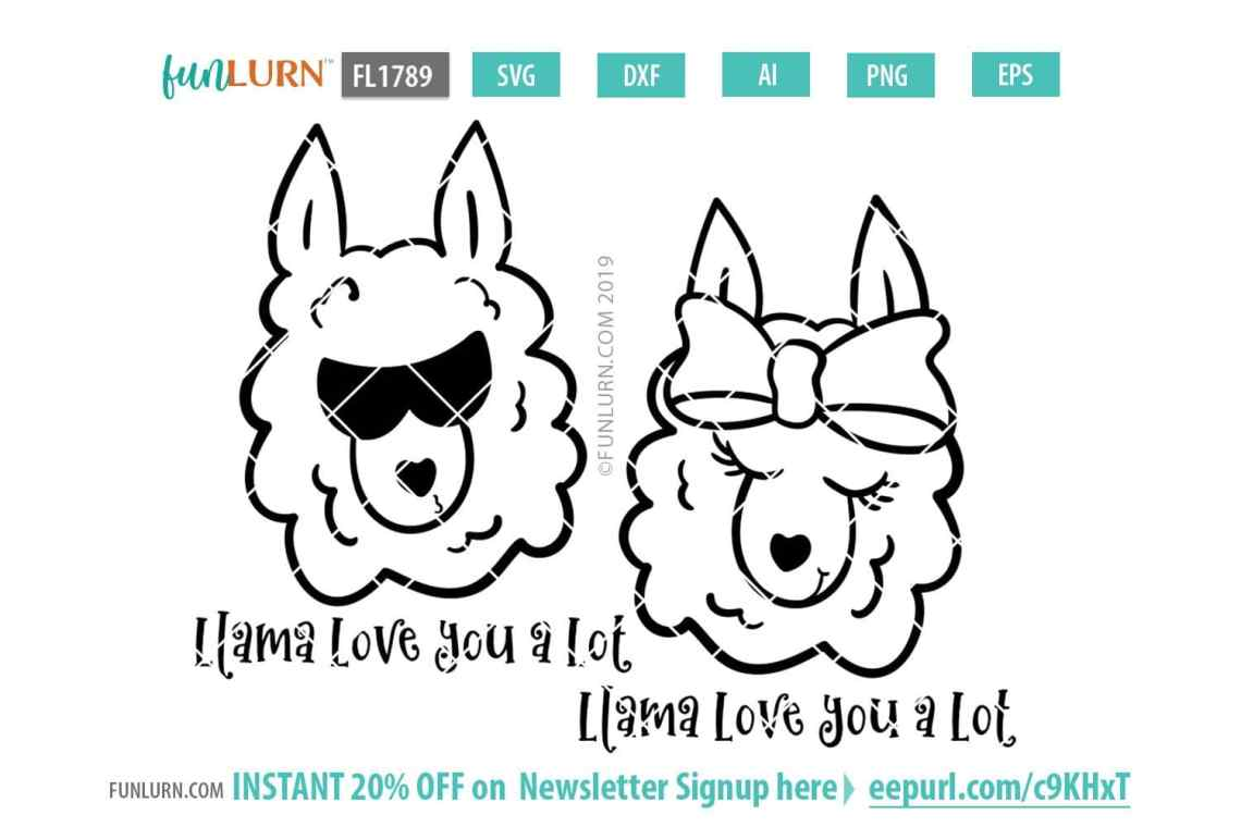 Download Valentine Llama Svg - Layered SVG Cut File