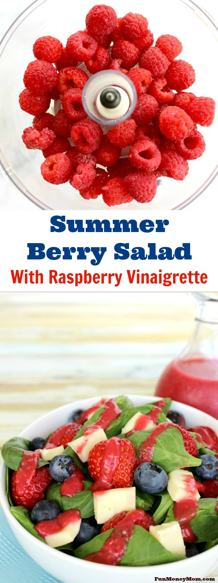 Need dinner in a hurry? Pair a delicious Freschetta pizza with this Summer Berry Salad topped with Fresh Raspberry Vinaigrette! You'll love that it's quick & easy and your family will love that it's so good! #FreschEats #ad