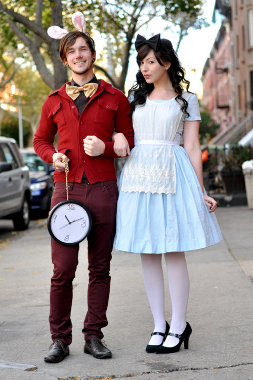 Alice and the White Rabbit make a creative couples costume