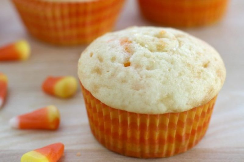 Close the hole in the candy corn cupcakes