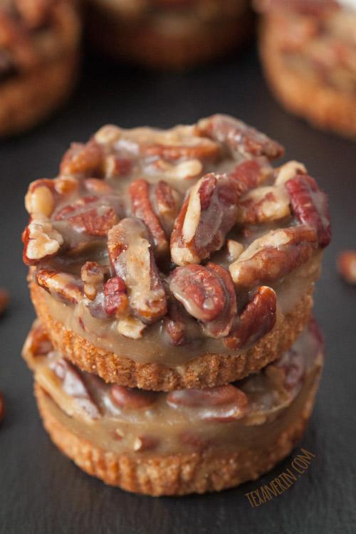 Mini caramel pecan tarts are a fun twist on traditional Thanksgiving desserts