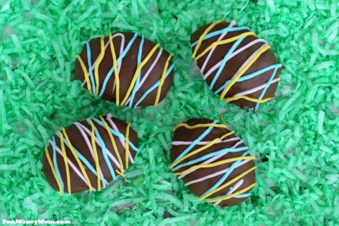 Easter egg treats with coconut grass