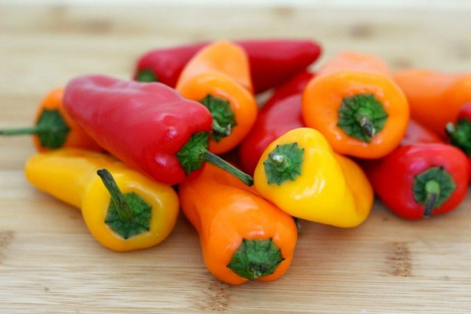 The first thing you'll need for your recipe are some sweet peppers